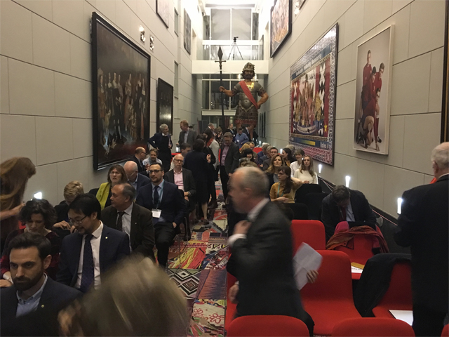 A hallway filled with people at the Digital Preservation Award event 2018